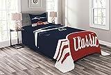 Lunarable Tagesdecke, klassische Vintage-Sportwagen, Fahrzeug-Silhouette, altmodischer Stil, gesteppt, 2-teiliges Bettbezug-Set mit Kissenbezug, Doppelgröße, Nachtblau