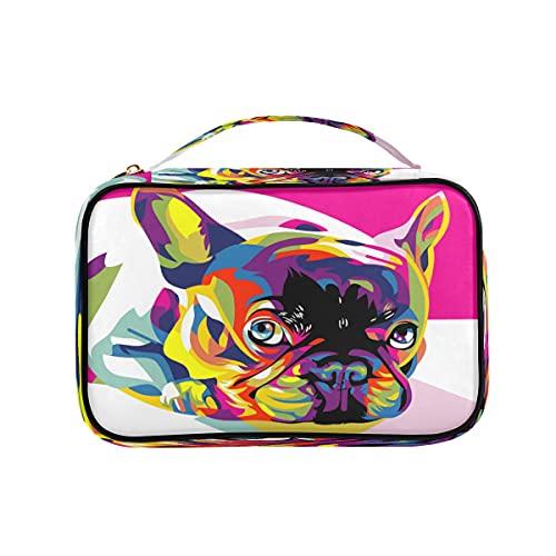 Colorido lindo perro perro perro perrito organizador bolsa viaje pu cuero almacenamiento casos para collar, pendientes, anillos, pulsera
