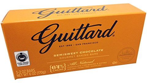 Guittard, 64% All Natural Cocoa Baking Bars, Semi Sweet, 6oz Package (Pack of 4)