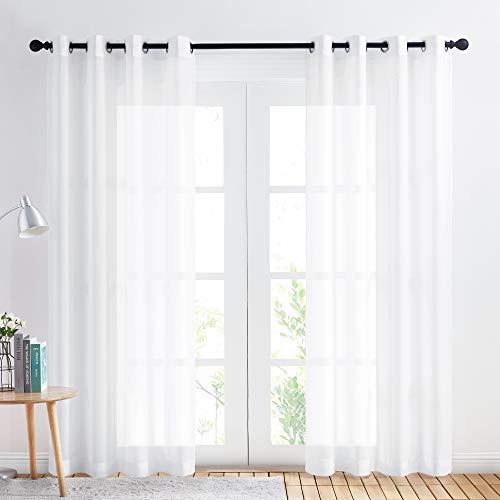PONY DANCE 2er Set Halbtransparente Voile Gardinen - Voile Vorhang mit Ösen Dekoschals Vorhänge Wohnzimmer/Schlafzimmer Weiße Gardinen aus Chiffon, H 220 x B 140 cm, Pures Weiß