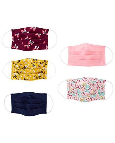 Simple Joys by Carter's Kids' 5-Pack Face Masks, Floral, One Size