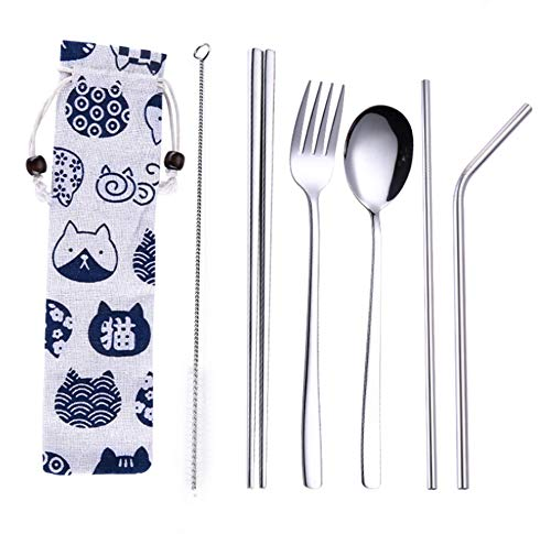 Amicc Chopsticks Spoon Fork Set Flatware Dinnerware Stainless Steel 304 with Travel Box and Bag for School Work Luch、camping 、outdoor etc (Silver-7pcs)