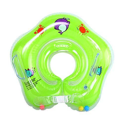 Qiao Nai Flotador Cuello Bebe Ajustable Inflable Doble Airbag Flotador Cuello para 1-18 Meses Bebé (Verde)