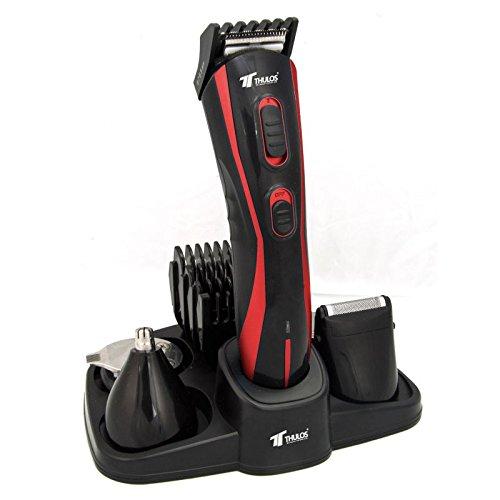 Cortapelos inalámbrico 5 en 1 Thulos: de cabello, barba, patillas, nariz y orejas. Color rojo