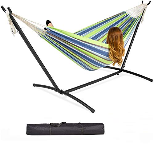 Gr8 Garden Single Cotton Hammock Outdoor Camping Patio Bed Swing with Space Saving Steel Metal Stand Frame