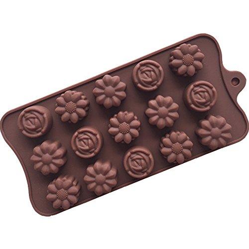 15 3D Kleine Bloemen Siliconen Cake Mould Ice Tray Chocolade Mould Ice Cream Bakdecoratie Kookvorm voor Dagelijks gebruik Celebration Party [Willekeurige kleur]