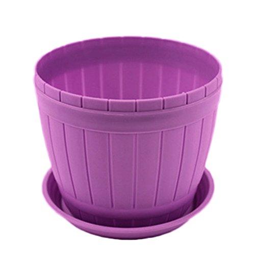 Dylandy pianta fiore vaso da fiori rotondo in plastica colorata piante grasse con piattino sottovaso, imitazione legno barile Plant Container Garden Outdoor Home Decor (blu), plastica, Purple-XS, xs