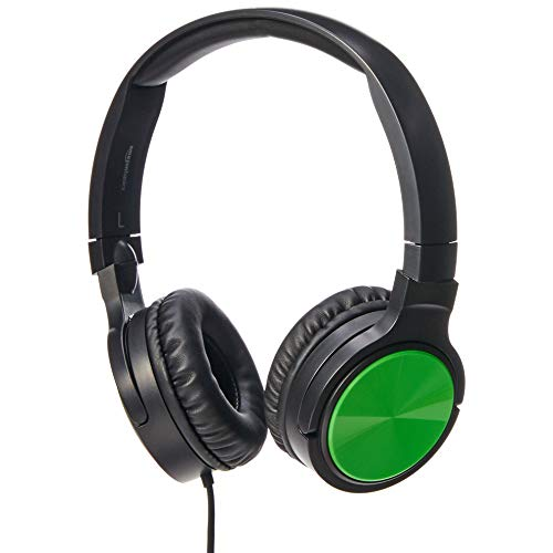 AmazonBasics Lightweight On-Ear Wired Headphones, Green