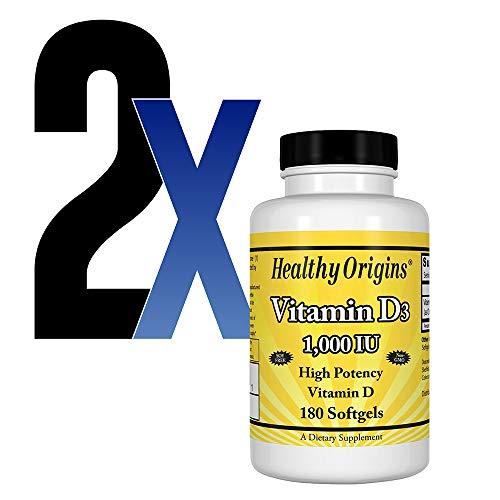 Vitamina D3 Alta Potencia 1000IU Healthy Origins 180Softg 2u