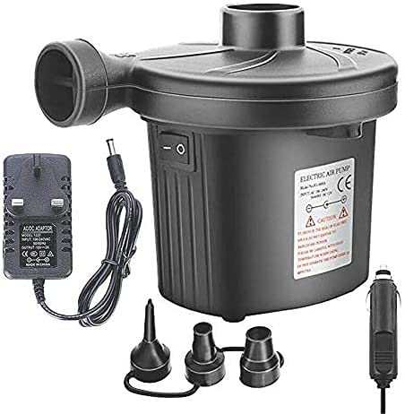 LXNQG Electric Air Pump Camping Electric Pumps 12V and 240V Inflator/Deflator Pump with 3 Nozzles, for Inflatable Sofa, Air Raft Mattress, Swimming Ring, Electric Pump