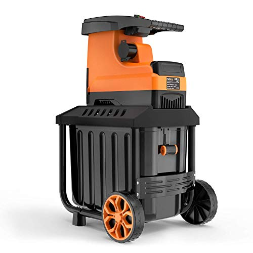TACKLIFE Biotrituradora de Jardín, 2800W Triturador de Ramas, Capacidad de Corte máxima de 45 mm, Caja de recolección de 60 litros, Motor silencioso de inducción, PWS01A