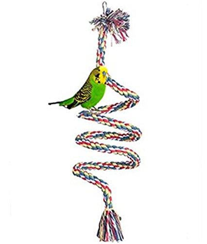 Demarkt Papegaaien Swing Papegaaien speelgoed weven ladder papegaai klimtouw met klok voor kleine papegaaien en andere kleine vogels, 2M, stijl 1