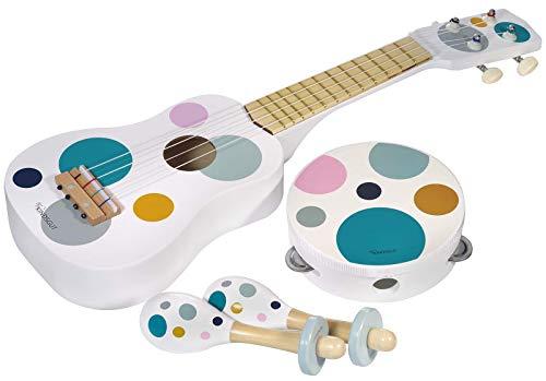 Kindsgut Musikinstrumenten-Set mit Gitarre Rasseln und Tamburin, dezente und Moderne Farben, umweltfreundliches Material, frei von Schadstoffen, Punkte