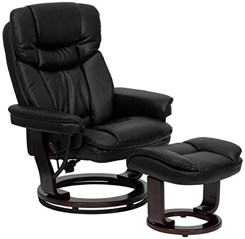 Contemporary Leather Recliner & Ottoman with Swiveling Mahogany Wood Base Black