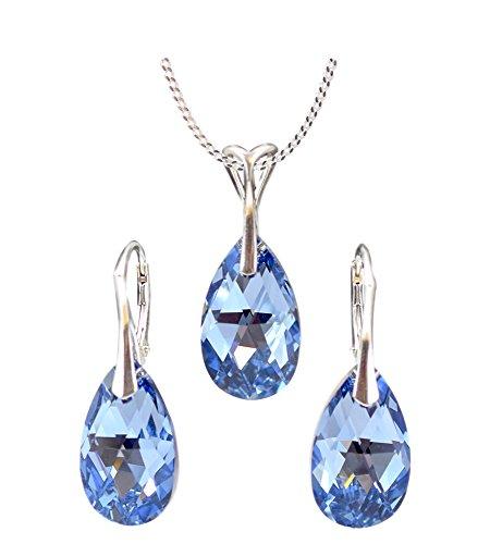 Crystals & Stones *MANDEL* Schmuck-Set *NEUE FARBEN* Silber 925 Schön Damen Schmuckset mit Kristallen von Swarovski Elements - Wunderbare Ohrringe und Halskette mit Geschenkbox (Light Sapphire CAL)