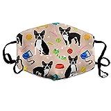 Máscara de Boca Unisex Antipolvo, máscara de la Gripe Kawaii, Reutilizable, para Hombres y Mujeres, Juguetes de Boston Terrier, Juguete para Perros Lindos
