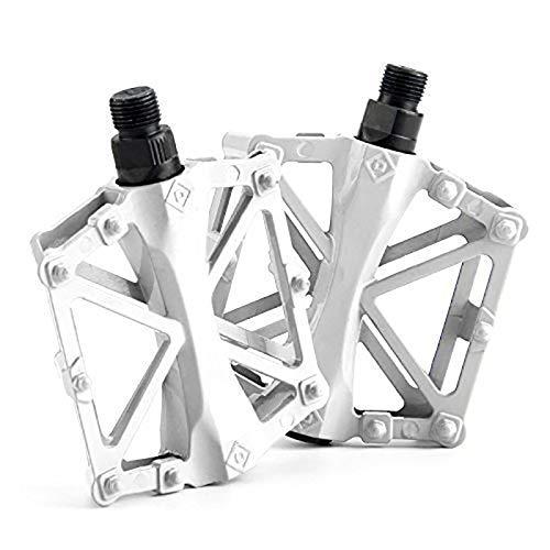 Pedales 1 par de Tobillo de Aluminio Todo Paso Accesorios Antideslizantes Pedal de Bicicleta de montaña Pedal Fijo Pedal de diseño Diseño Sellado Pedales de Bicicleta (Color : White)