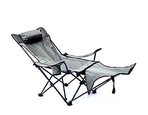 LJWLZFVT Silla de Camping Plegable reclinable portátil con portavasos de Bolsillo Lateral y Almohadas, se Puede Utilizar para Acampar en la Playa (Varios Estilos Disponibles)-Gris 163x63x70cm