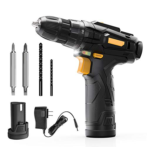 HRYHY Cordless Drill, 12V Max Lithium-Ion Drill Driver, 2 Variable Speed, 18+1 Torque Setting, Built-in LED for Drilling Wood,Metal
