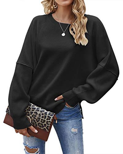 Jacansi Damen Einfache Locker Oversized Baumwolle Winterpullover Warmer Strickpullover Schwarz M
