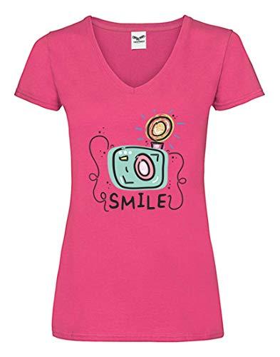 Druckerlebnis24 Camiseta V – Smile Fotografía Cámara Flash – Camiseta para Mujer y Mujer con Cuello en V Fucsia XS