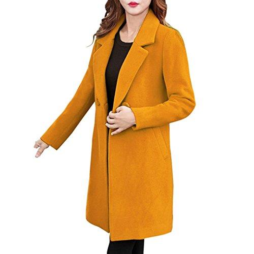 VEMOW Herbst Winter Elegante Damen Cashmere-Like Dicker Jacke Outwear Parka Cardigan Casual Täglichen Business Schlank Mantel(Gelb, 38 DE/M CN)
