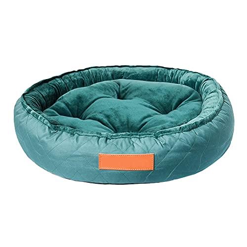 ZXCVBNN Cama para Mascotas con Lavadora Redonda para Todas Las Estaciones, Suaves y cómodas Suministros para Mascotas pequeñas y Medianas (Verde Oscuro) (Tamaño: 65 cm)