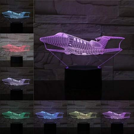 Avión de pasajeros Modelo 3D LED Luz de noche para dormir Luz táctil Decoración de Navidad y Año Nuevo Decoración de dormitorio para niños Luz