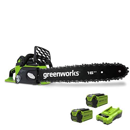 Greenworks Motosierra de batería GD40CS40K2x (Li-Ion 40V 11 m/s velocidad de la cadena 40cm longitud de sable 180ml volumen del tanque de aceite motor sin escobillas con 2x 2Ah batería y cargador)