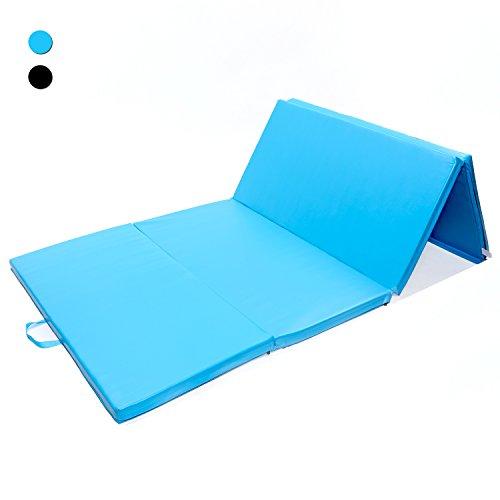 ISE Colchoneta Grosor 5 cm Plegable con Asas 4 Pliegues espuma antiderrapante Yoga, Pilates, aeróbics & ejercicio para casa e interiores Gimnasia mat 240x120x5cm, Azul