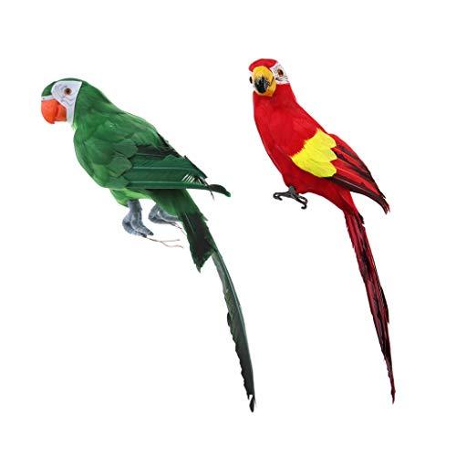 2 Unids 45cm Pájaros Loros Artificiales con Pluma Artificial Pájaros de Espuma Estatua de loro para Decoración del Hogar o Plantas de Jardín