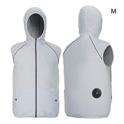 No-Branded Kühlmantel Sommer-Ventilator-Kühlweste for Männer Frauen Reflective Klimaanlage Cool Coat Außensonnenschutz-Jacke USB Charing Weste JFCUICAN (Color : M Silver)