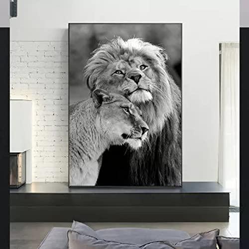 Canvastryck vilda djur lejonet svartvitt väggmålning dekoration väggduk prydnad tavla utskrift hemma Nordic Picture Mural Art Deco Retro födelsedagspresent 50x70cm