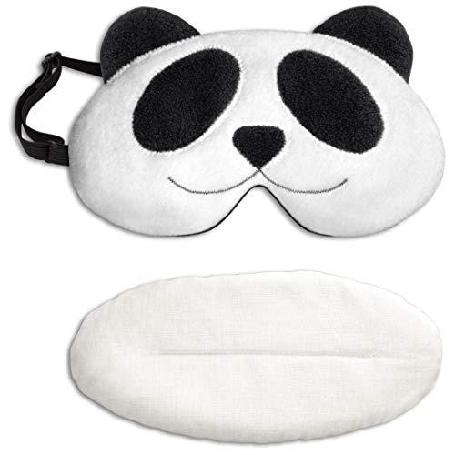 Leschi SCHLAFMASKE lichtdicht für erholsamen Schlaf/Augenmaske mit Kühlkissen/Schlafbrille kühlend und wärmend, Baumwolle/Reisegeschenk für Frauen, Kinder, Mädchen/Panda Lien, schwarz