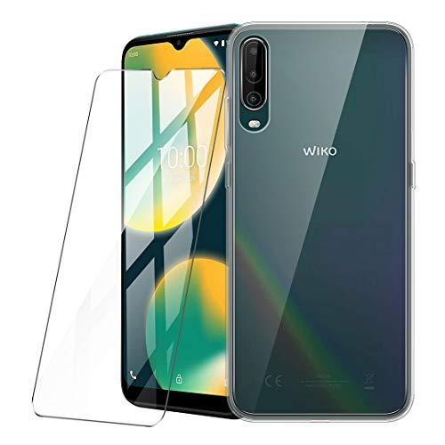 LJSM Hülle für Wiko View 4 + Panzerglas Bildschirmschutzfolie Schutzfolie - Transparent Weich Silikon Schutzhülle Crystal Flexibel TPU Tasche Hülle für Wiko View4 (6.52