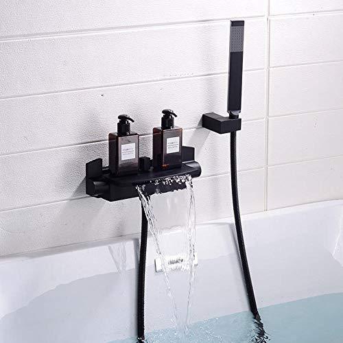 badewannenarmatur wasserfall mit brause warmes und kaltes Wasser wasserhahn badewanne unterputz zweigriff - Schwarz