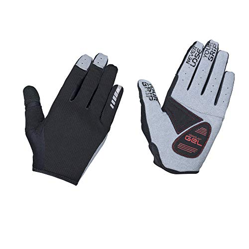 GripGrab Unisex– Erwachsene Shark Gepolsterte Langfinger Mountainbike Handschuhe rutschfeste Vollfinger Radsport Sommer Fahrradhandschuhe Lang, Schwarz, L