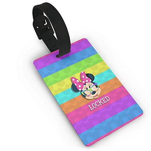 Color Minnie Mouse Luggage Tag Adjustable Strap Bag Baggage Name,Accessories Tags for Tourists