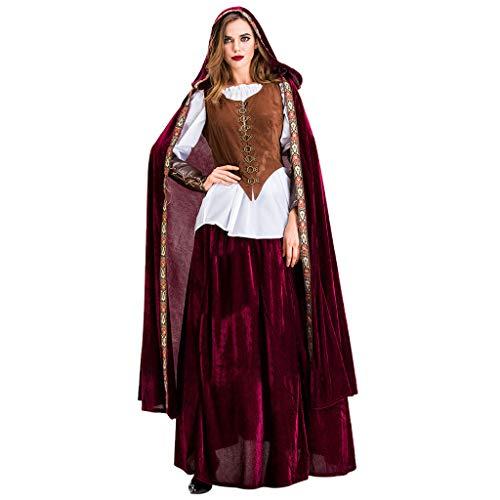 RISTHY Vestidos de Halloween para Mujer Disfraz Rojo Pequeño Cosplay Vestido Largo Vintage Vestido de Corte Medieval