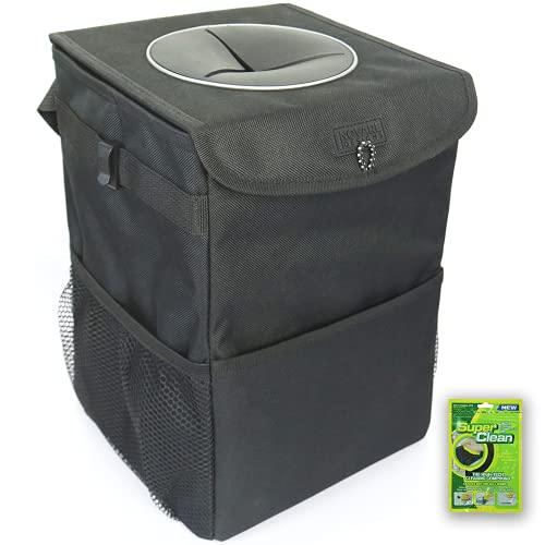 Inovare Designs - Bolsa de basura para automóvil para hombres y mujeres, vehículo, camión, SUV, bote, soporte para colgar en el asiento, contenedor de basura con tapa, canasta de almacenamiento de latas, accesorios interiores para automóvil, regalos esenciales