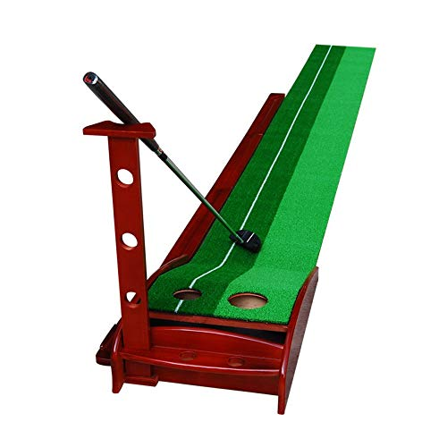 Best Buy! JHHXW Golf Putting Mats Solid Wood Golf Practice Mat with Auxiliary Line, with Automatic B...