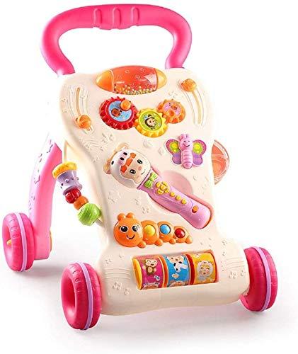 SONG Carrito de Andador con Empuje para Sentarse y Pararse Respetuoso con El Medio Ambiente con Micrófono Juguete Educativo Andador de Empuje para Bebés 6 Meses para Arriba,Red