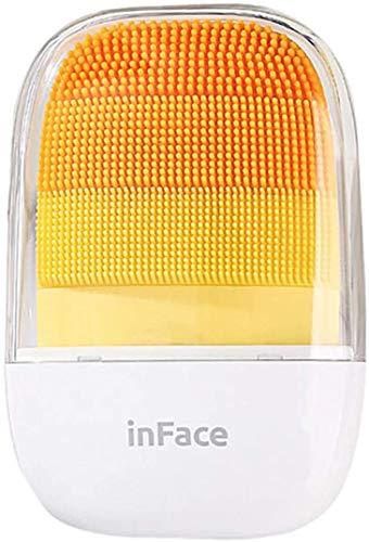 InFace Spazzola per il viso elettrica in silicone, anti-invecchiamento, portatile, per la pulizia del viso, per tutti i tipi di pelle, impermeabile, ricaricabile, arancione