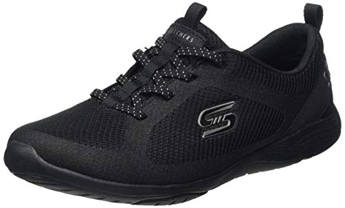 Skechers Damen Lolow Sneaker, Schwarz (Black Mesh/Hot Melt/Trim BBK), 39 EU