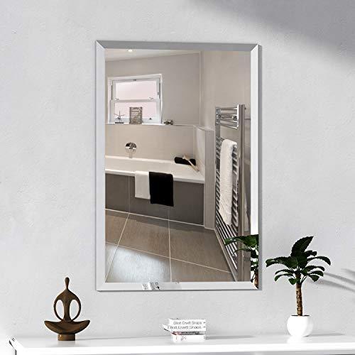 "KOHROS Rectangle Beveled Polished Frameless Wall Mirror for Bathroom, Vanity, Bedroom (20"" W x 28"" H Rectangular)"