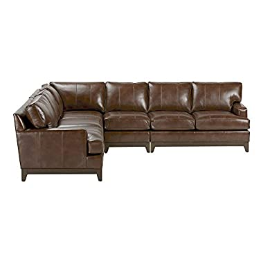 Ethan Allen Arcata Four Piece Leather Sectional, Omni Brown Top-Grain Leather