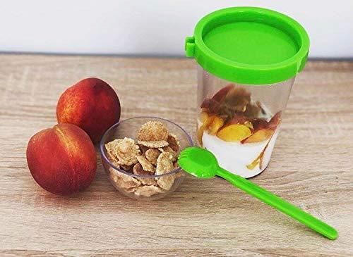 POPPARD CAPSULE Yoghurt 2 Go, Diet, Food, Granola, Snack Container 450 ml (15.2 oz) + 100 ml (3.38 oz) (Green)