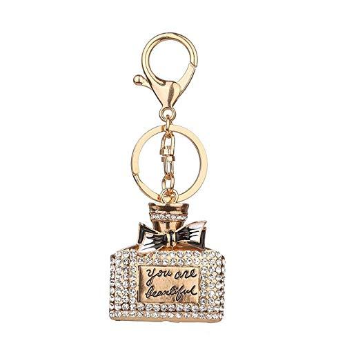 GUOYXUAN Sleutelhanger SleutelhangersRhinestone Legering Parfum Fles Sparkling Sleutelhanger Tas Sleutelhanger Ring Auto Sleutelhanger 11 * 4cm