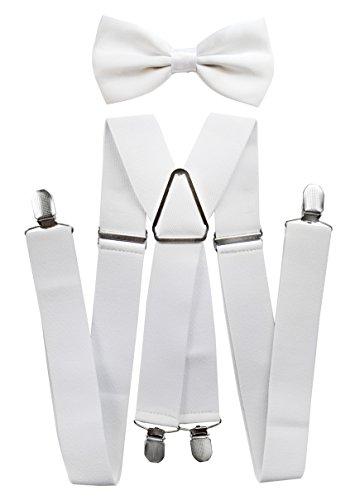 axy® Hochwertige Herren Hosenträger mit Fliege - 4 Starken Clips X-Form (Weiss (Hosenträger Breit 3,5cm))