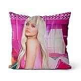 Cojín del sofá de la Almohada del Tiro Kylie Jenner Almohada Cuadrada con Cremallera Invisible Funda de Almohada Decorativa para sofá Dormitorio Funda de Almohada + núcleo 45x45cm
